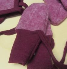 Cosilana Baby-Fäustel ohne Daumen, 60% Bio-Wollfleece(kbT) u. 40% Bio-Baumwolle(kbA),  weinrot melange