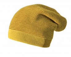 Strick-Mütze Disana Long-Beanie, 100% Bio-Wolle(kbT), curry-gold