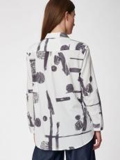 Thought Damen-Bluse lg.A., 50% Bio-Baumwolle(kbA), 50% Modal,  weiß-grau gemustert