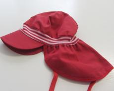 Mütze mit Schild und Nackenschutz PICKAPOOH-Tim Strick UV 80, 100% Bio-Baumwolle (kbA), rot