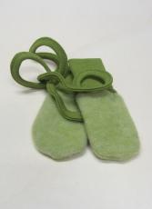 Cosilana Baby-Fäustel ohne Daumen, 60% Bio-Wollfleece(kbT) u. 40% Bio-Baumwolle(kbA),  grün melange