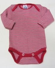 Body langarm, Bio-Wolle und Seide, rot-geringelt