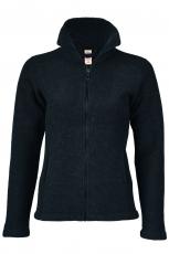 Engel Damen-Jacke tailliert, 100% Bio-Wollfleece (kbT),  schwarz melange
