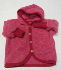 Cosilana Baby-Jacke mit Kapuze, Bio-Wollfleece (kbT), rot melange