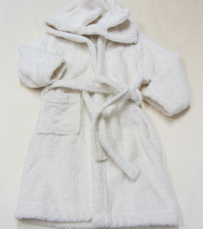gut kaufen glatt detaillierter Blick Leela cotton Kinder-Kapuzen-Bademantel, 100% Bio-Baumwolle (kbA), natur