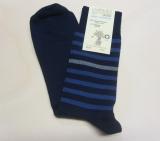 Grödo Socken, 98% Bio-Baumwolle (kbA) 2% Elasthan, marine geringelt