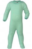 Engel Overall mit Fuß, 100% Bio-Wolle (kbT) u. Seide, gletscher-natur