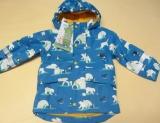 Frugi Winter-Regen-Jacke m. Kapuze, recycelte Plastikflaschen, blau mit Eisbären