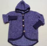 Cosilana Baby-Jacke mit Kapuze, 60% Bio-Wolle(kbT) u. 40% Bio-Baumwolle (kbA), lila-melange