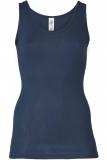 Engel Damen-Achselhemd, 70% Bio-Wolle (kbT) und Seide, marine