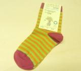Grödo Socken, 98% Bio-Baumwolle(kbA), grün-orange-pink geringelt