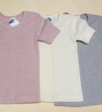 Cosilana Kinder-Unterhemd kurzarm, 45% Bio-Baumwolle, 35% Bio-Wolle und 20% Seide, natur