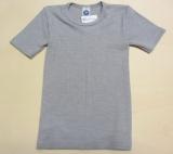 Cosilana Kinder-Unterhemd kurzarm, 45% Bio-Baumwolle, 35% Bio-Wolle und 20% Seide, grau