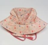 Mütze mit Krempe und Tunnelzug, PICKAPOOH-Fischerhut, 100% Bio-Baumwolle (kbA), rosa Blumen