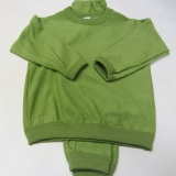 Cosilana-Frottee-Schlafanzug zweiteilig, 100% Bio-Wolle (kbT), grün