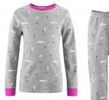 Living-crafts-Schlafanzug zweiteilig, 100% Bio-Baumwolle(kbA), grau-pink