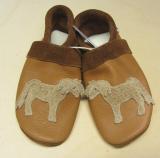 Pantolinos Lederstrümpfe-Lauflernschuhe, Wollfilzeinlagen, Natur-Leder, Pferd camel