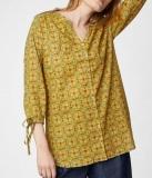 Thought Damen-Bluse3/4A., 100% Bio-Baumwolle(kbA),  gelb gemustert