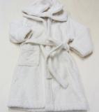 Leela cotton Kinder-Kapuzen-Bademantel, 100% Bio-Baumwolle (kbA), natur