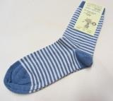 Grödo Kinder Socken, 98 % Bio-Baumwolle (kbA) u. 2% Elasthan, jeans-natur geringelt
