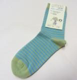 Grödo Socken, 98% Bio-Baumwolle(kbA) u. 2% Elasthan, kiwi-türkis geringelt