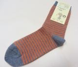 Grödo Socken, 98% Bio-Baumwolle (kbA) u. 2% Elasthan, grau-orange geringelt