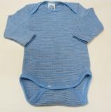 Cosilana Body langarm, Bio-Baumwolle-Bio-Wolle und Seide, blau-braun-natur