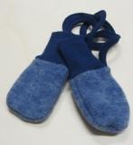 Cosilana Baby-Fäustel ohne Daumen, 60% Bio-Wollfleece(kbT) u. 40% Bio-Baumwolle(kbA),  blau melange