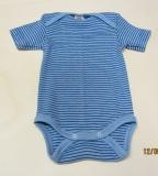 Body kurzarm, Bio-Baumwolle, blau-hellblau-geringelt