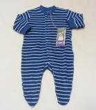 Overall mit Fuß, Bio-Baumwollfrottee, blau-weiß