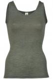 Engel Damen-Achselhemd, 70% Bio-Wolle (kbT) und Seide,  walnuss