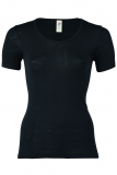Damen-Hemd kurzarm, Wolle-Seide, schwarz