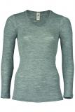 Damen-Hemd langarm, Wolle-Seide, schwarz
