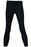 Damen-Leggings mit Spitze, Wolle-Seide, schwarz