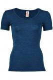 Engel Damen-Shirt kurzarm, 100% Bio-Wolle (kbT), saphir
