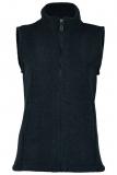Damen-Weste tailliert, Bio-Wollfleece, schwarz melange