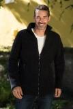 Engel Herren-Jacke tailliert, 100% Bio-Wollfleece (kbT), schwarz melange