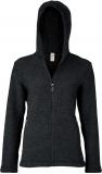 Engel Damen-Kapuzen-Jacke tailliert, 100% Bio-Wollfleece (kbT), jeans melange