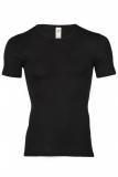 Herren-Shirt kurzarm, Wolle-Seide, schwarz