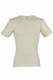Herren-Shirt kurzarm, Wolle-Seide, natur