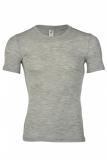 Engel Herren-Shirt kurzarm, 70% Bio-Wolle(kbT) u. Seide, hellgrau melange