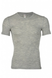 Herren-Shirt kurzarm, Wolle-Seide, hellgrau melange