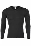 Herren-Shirt langarm, Wolle-Seide, schwarz