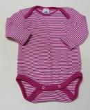 Body langarm, Bio-Wolle und Seide, pink-geringelt