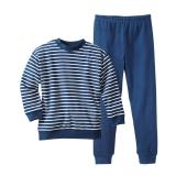 Schlafanzug zweiteilig, Bio-Baumwolle, marine-weiß