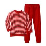 Schlafanzug zweiteilig, Bio-Baumwolle, rot-weiß