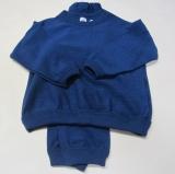 Schlafanzug zweiteilig, Bio-Wollfrottee, marine
