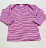 Baby-Schlupfhemd langarm, Bio-Wolle und Seide, pink geringelt
