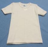 Unterhemd kurzarm, Bio-Wolle und Seide, natur