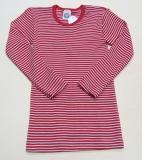 Cosilana Unterhemd langarm, 70% Bio-Wolle (kbT) und Seide, rot geringelt
